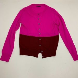 J. Crew pink red cardigan merino wool sweater